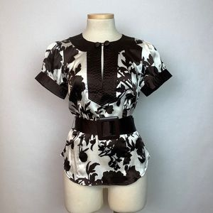 Bebe Belted Silk Shirt Brown White Floral XS
